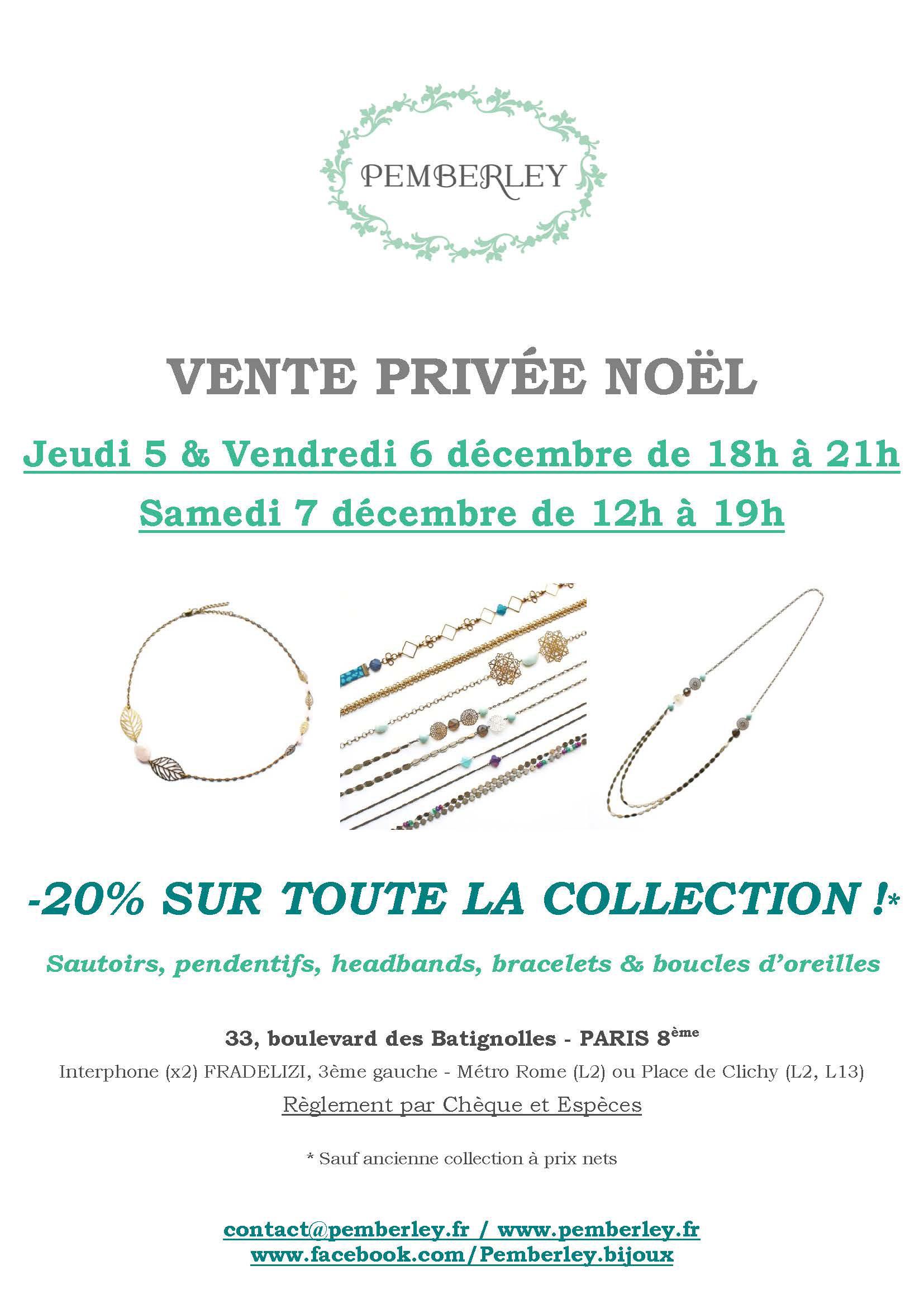 Vente de Noël Pemberley à Paris décembre 2013
