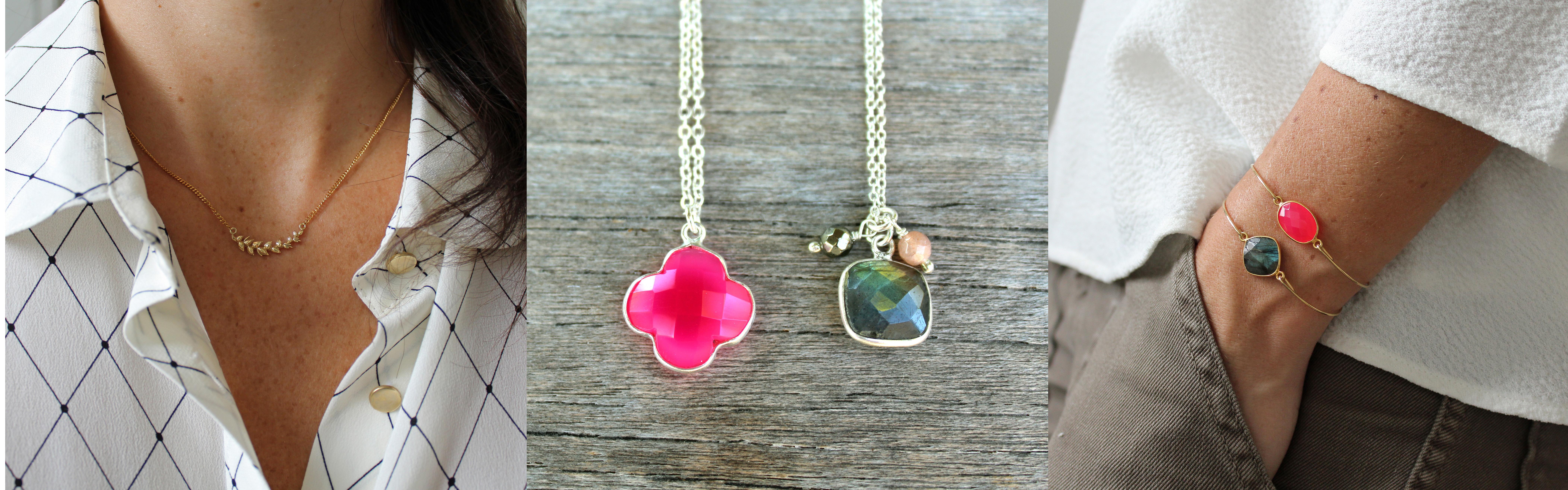 Colliers et joncs fuchsia Pemberley bijoux AH16
