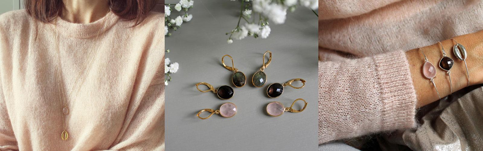 Triptyque Hiver Pemberley collier boucles d'oreilles bracelets
