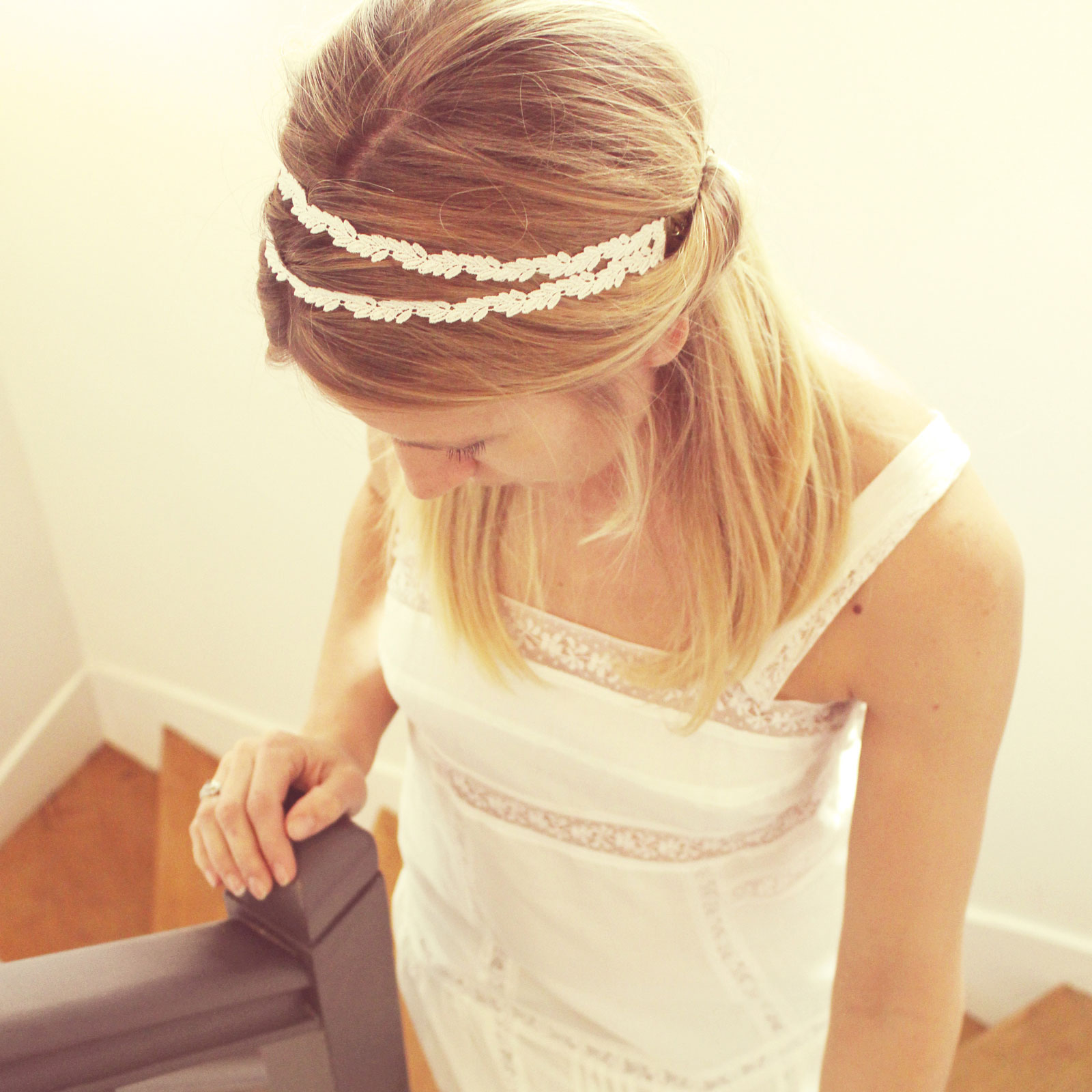 LAURIER headband Pemberley mariage porté